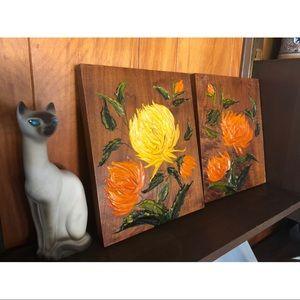 Rad Vtg Acrylic Floral textural paintings